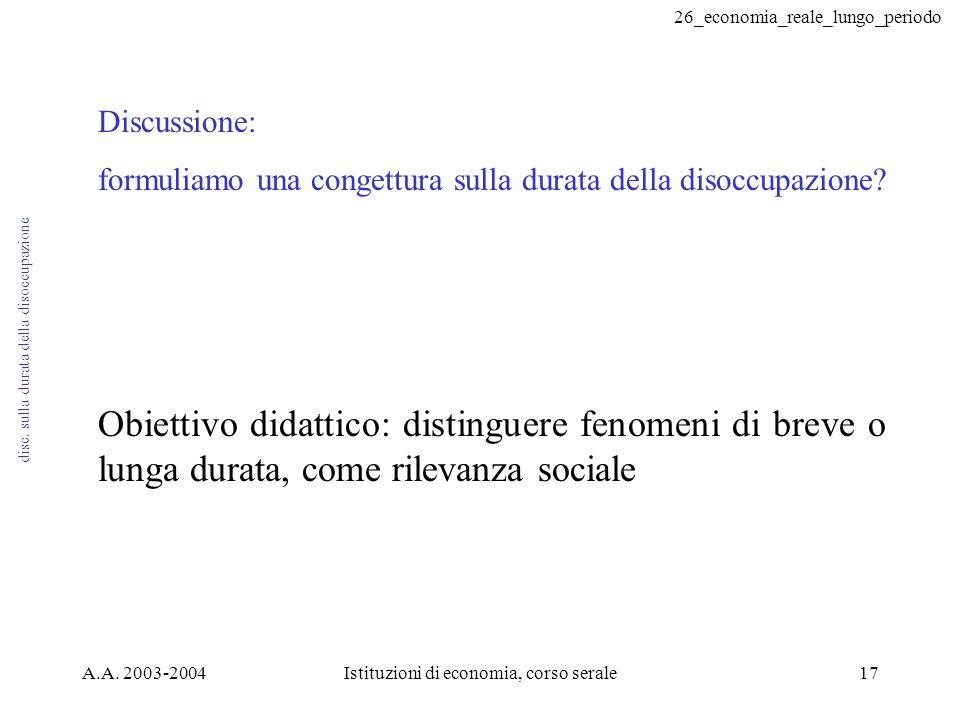 26_economia_reale_lungo_periodo A.A. 2003-2004Istituzioni di economia, corso serale17 disc.