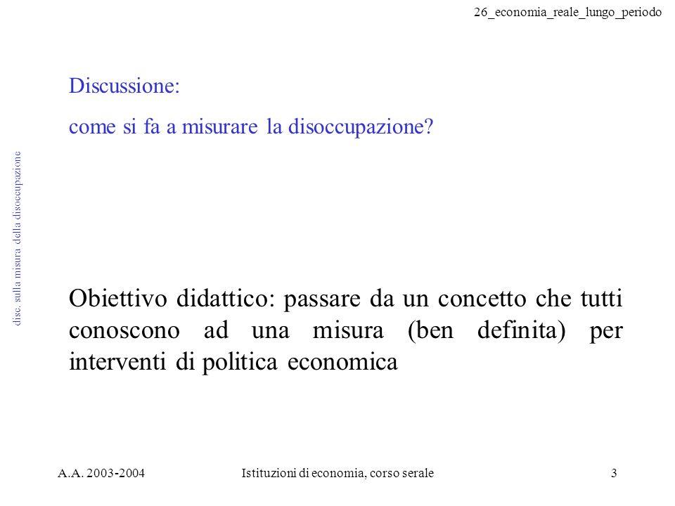 26_economia_reale_lungo_periodo A.A. 2003-2004Istituzioni di economia, corso serale3 disc.