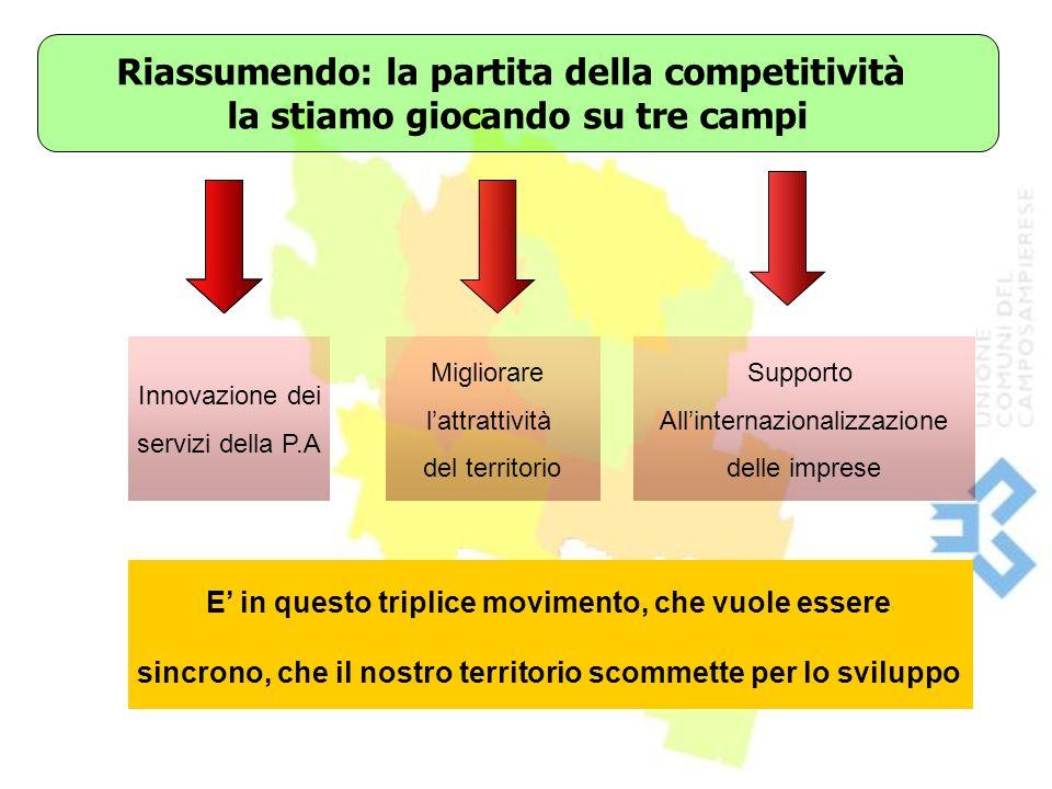 Riassumendo: la partita della competitività la stiamo giocando su tre campi Innovazione dei servizi della P.A Migliorare lattrattività del territorio Supporto Allinternazionalizzazione delle imprese E in questo triplice movimento, che vuole essere sincrono, che il nostro territorio scommette per lo sviluppo