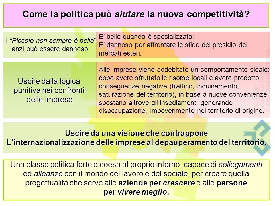 Come la politica può aiutare la nuova competitività.