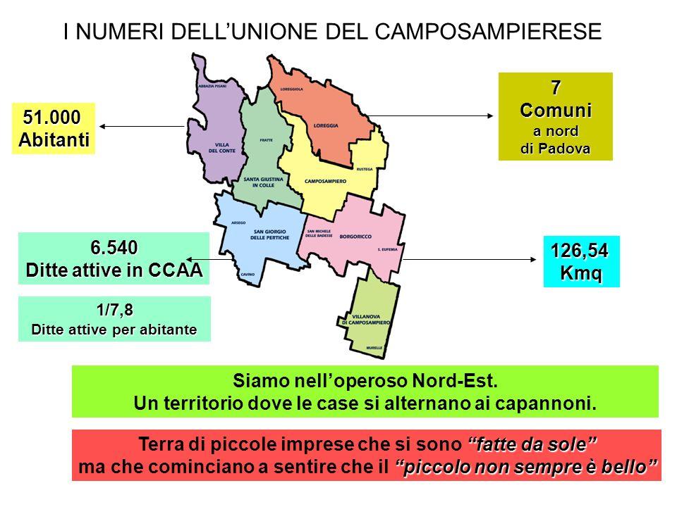 126,54Kmq 51.000Abitanti 6.540 Ditte attive in CCAA 1/7,8 Ditte attive per abitante Siamo nelloperoso Nord-Est.