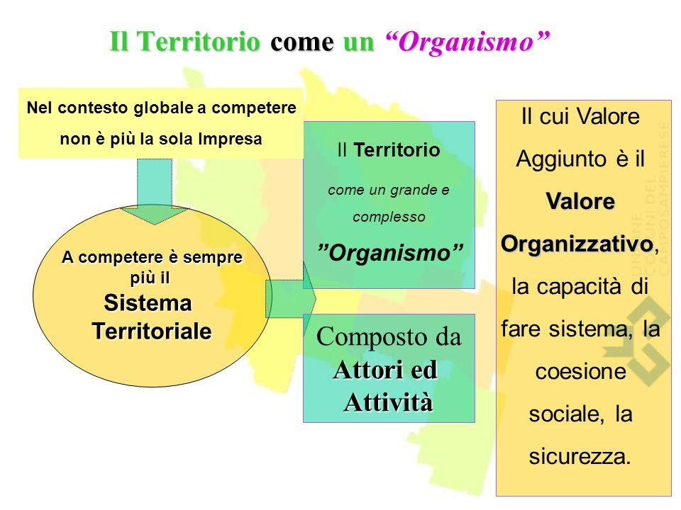 A competere è sempre più il SistemaTerritoriale Il Territorio come un Organismo Nel contesto globale a competere non è più la sola Impresa Il Territorio come un grande e complesso Organismo Valore Organizzativo Il cui Valore Aggiunto è il Valore Organizzativo, la capacità di fare sistema, la coesione sociale, la sicurezza.
