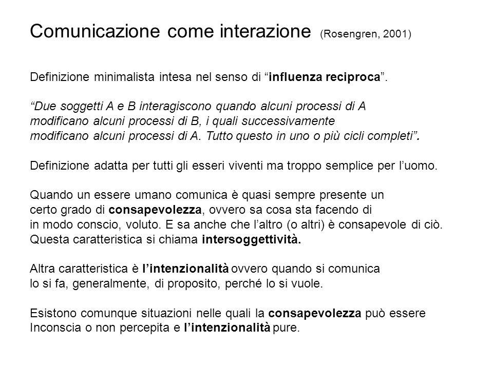 Comunicazione come interazione (Rosengren, 2001) Definizione minimalista intesa nel senso di influenza reciproca. Due soggetti A e B interagiscono qua