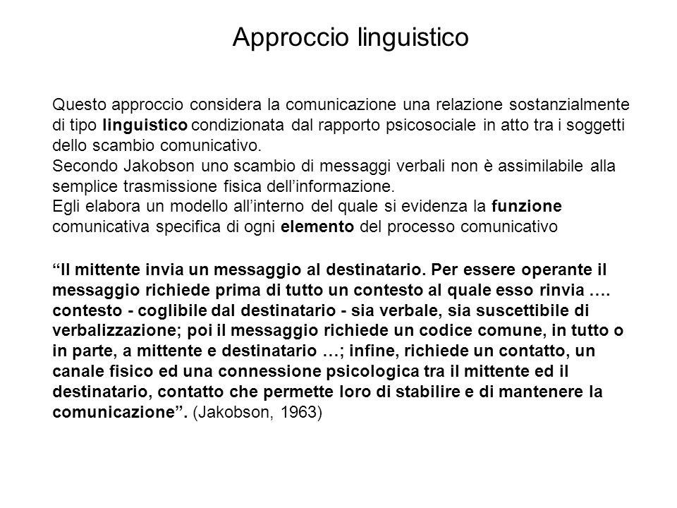 Questo approccio considera la comunicazione una relazione sostanzialmente di tipo linguistico condizionata dal rapporto psicosociale in atto tra i sog