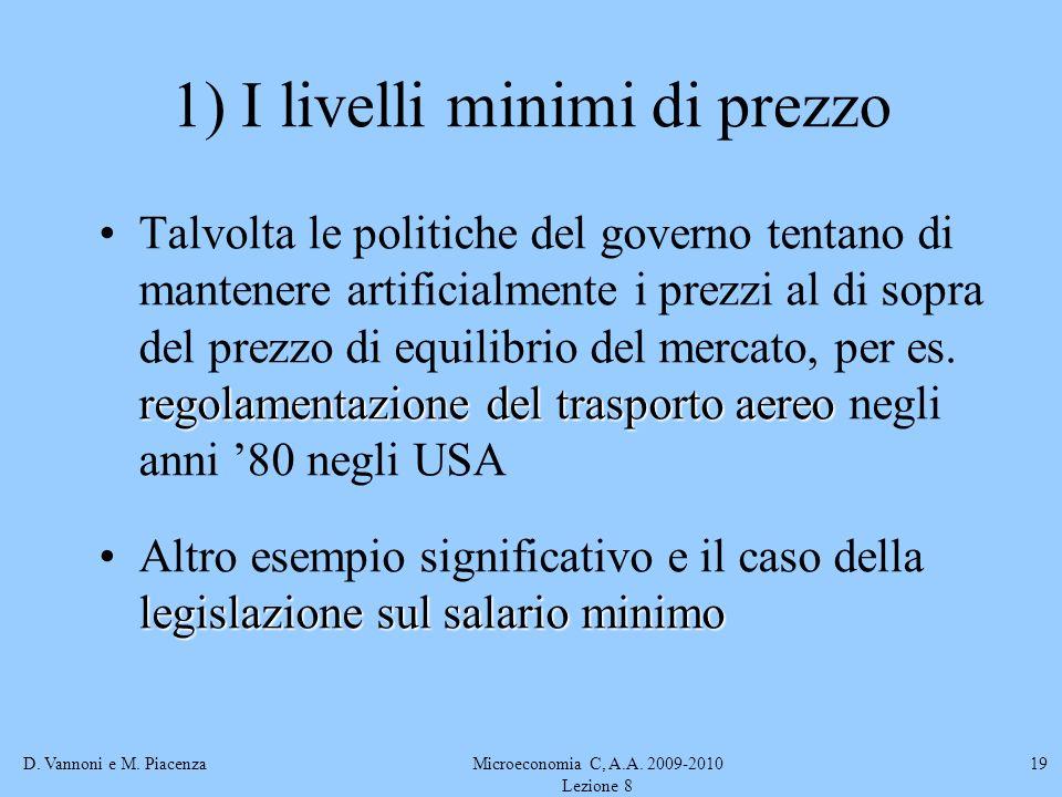 D. Vannoni e M. PiacenzaMicroeconomia C, A.A. 2009-2010 Lezione 8 19 1) I livelli minimi di prezzo regolamentazione del trasporto aereoTalvolta le pol