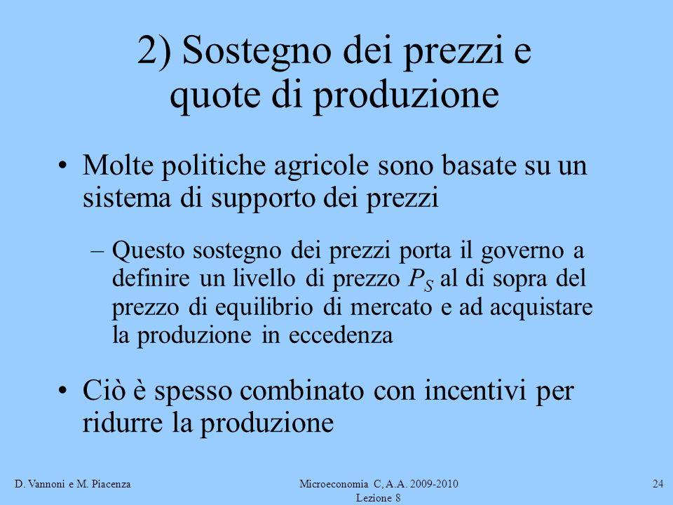 D. Vannoni e M. PiacenzaMicroeconomia C, A.A. 2009-2010 Lezione 8 24 2) Sostegno dei prezzi e quote di produzione Molte politiche agricole sono basate