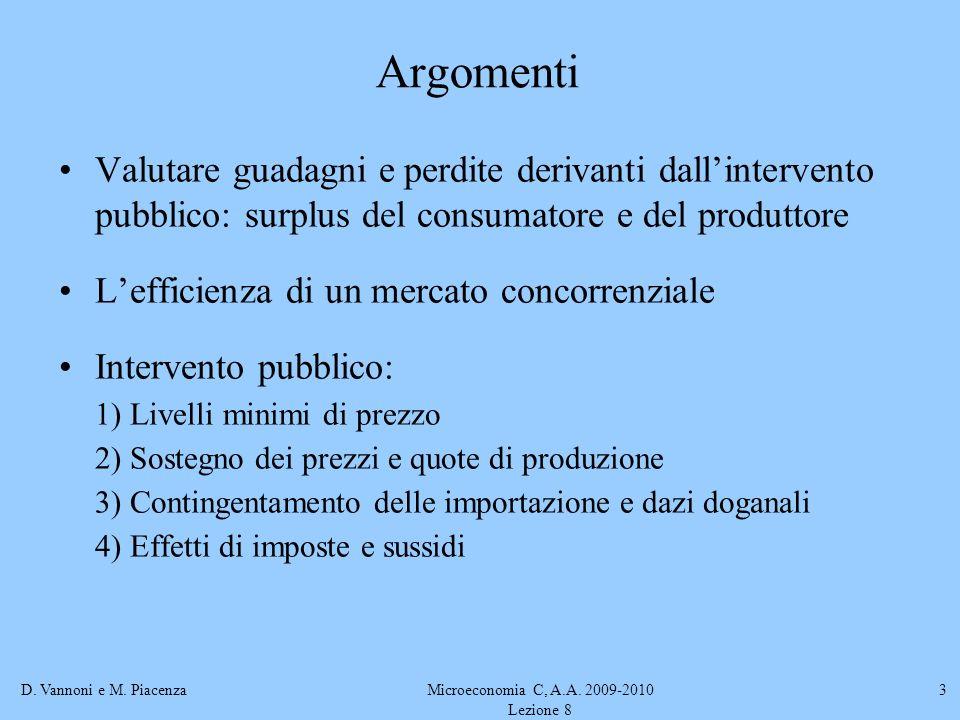 D. Vannoni e M. PiacenzaMicroeconomia C, A.A. 2009-2010 Lezione 8 3 Argomenti Valutare guadagni e perdite derivanti dallintervento pubblico: surplus d