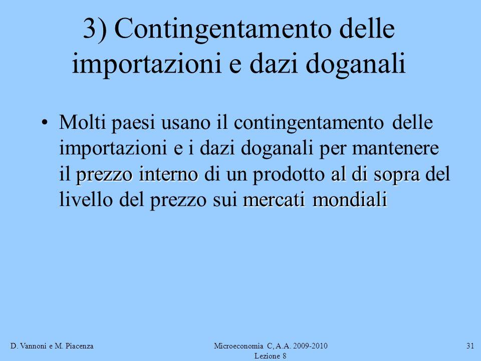 D. Vannoni e M. PiacenzaMicroeconomia C, A.A. 2009-2010 Lezione 8 31 3) Contingentamento delle importazioni e dazi doganali prezzo internoal di sopra
