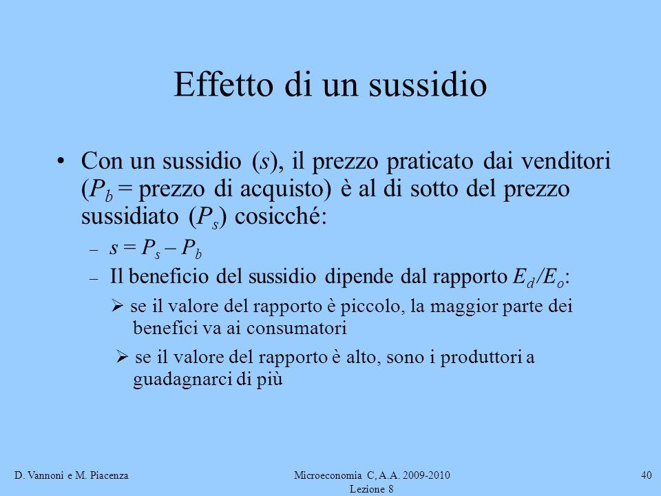 D. Vannoni e M. PiacenzaMicroeconomia C, A.A. 2009-2010 Lezione 8 40 Effetto di un sussidio Con un sussidio (s), il prezzo praticato dai venditori (P