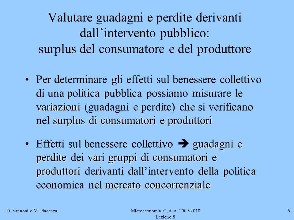D. Vannoni e M. PiacenzaMicroeconomia C, A.A. 2009-2010 Lezione 8 6 variazioni surplus di consumatori e produttoriPer determinare gli effetti sul bene