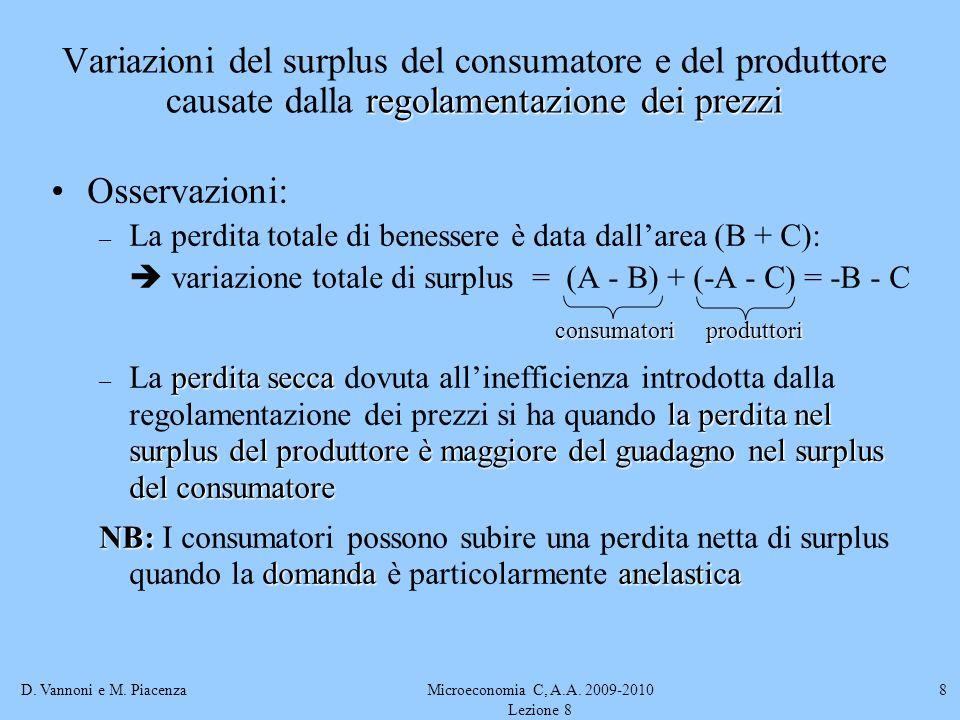 D. Vannoni e M. PiacenzaMicroeconomia C, A.A. 2009-2010 Lezione 8 8 Osservazioni: – La perdita totale di benessere è data dallarea (B + C): variazione