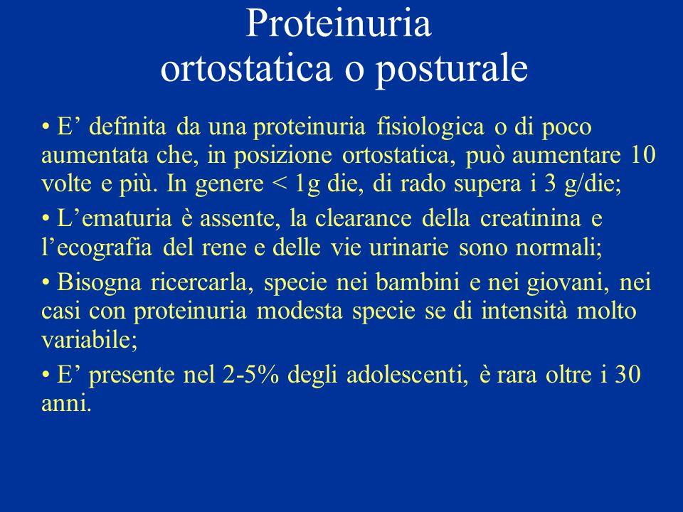 Proteinuria ortostatica o posturale E definita da una proteinuria fisiologica o di poco aumentata che, in posizione ortostatica, può aumentare 10 volt