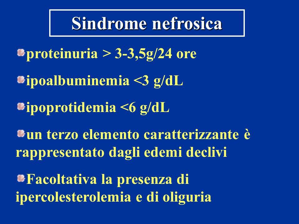 proteinuria > 3-3,5g/24 ore ipoalbuminemia <3 g/dL ipoprotidemia <6 g/dL un terzo elemento caratterizzante è rappresentato dagli edemi declivi Facolta