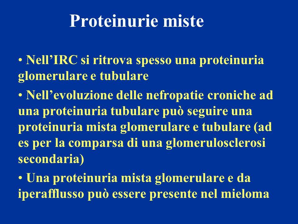 Proteinurie miste NellIRC si ritrova spesso una proteinuria glomerulare e tubulare Nellevoluzione delle nefropatie croniche ad una proteinuria tubular