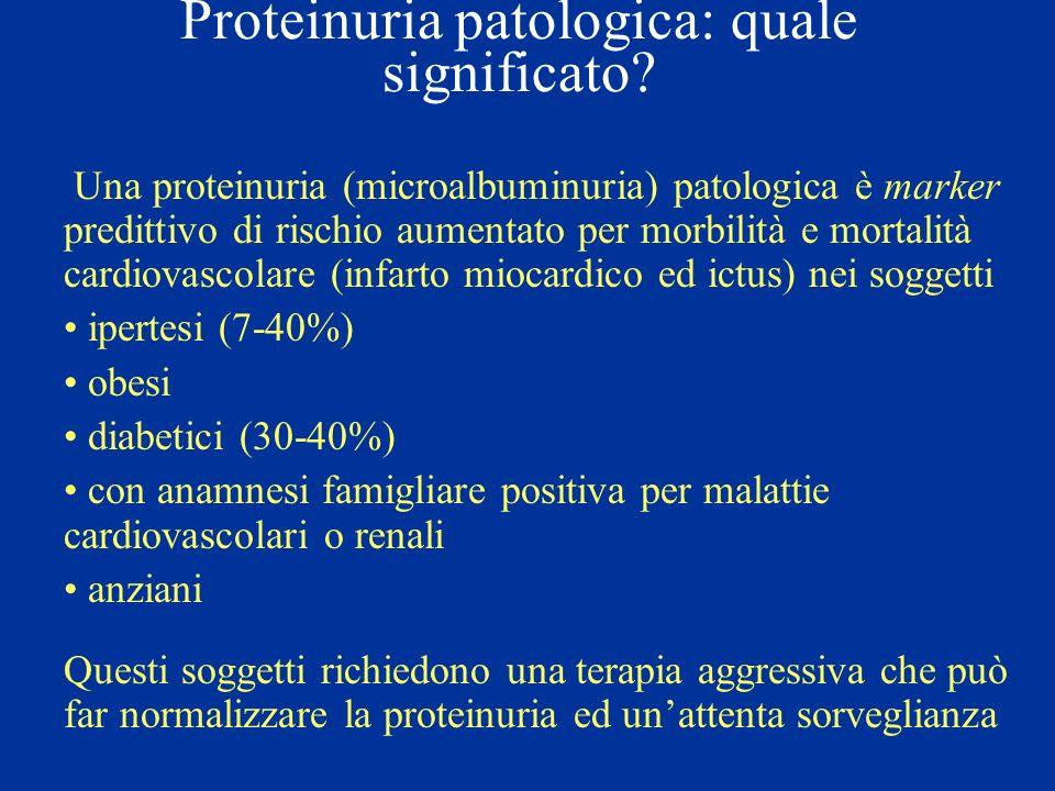 Proteinuria patologica: quale significato? Una proteinuria (microalbuminuria) patologica è marker predittivo di rischio aumentato per morbilità e mort