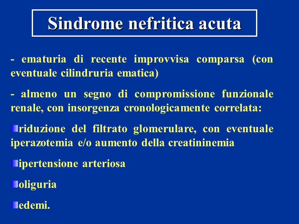 Sindrome nefritica acuta - ematuria di recente improvvisa comparsa (con eventuale cilindruria ematica) - almeno un segno di compromissione funzionale