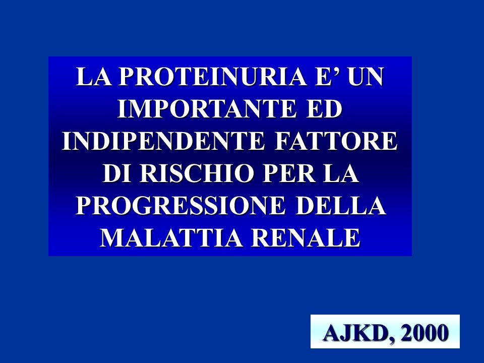 LA PROTEINURIA E UN IMPORTANTE ED INDIPENDENTE FATTORE DI RISCHIO PER LA PROGRESSIONE DELLA MALATTIA RENALE AJKD, 2000