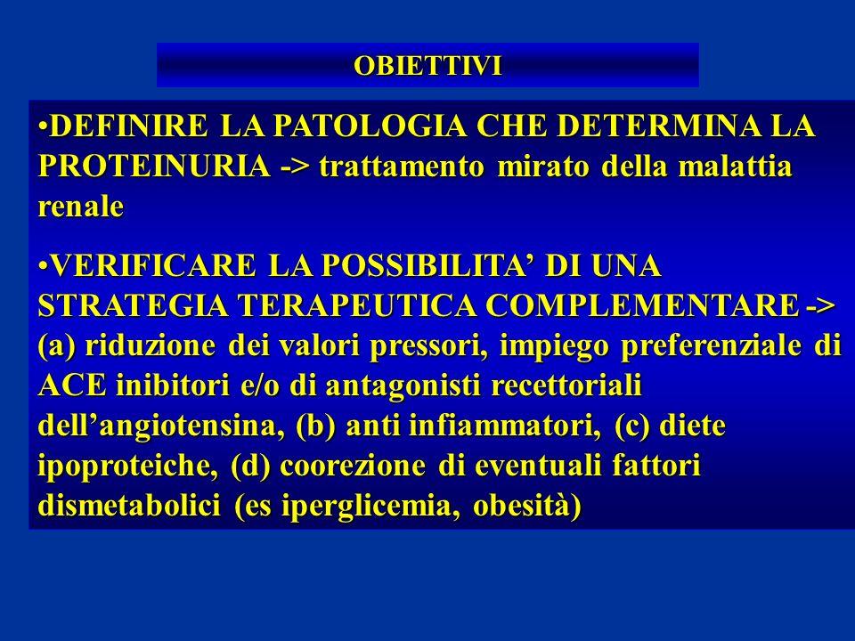 OBIETTIVI DEFINIRE LA PATOLOGIA CHE DETERMINA LA PROTEINURIA -> trattamento mirato della malattia renaleDEFINIRE LA PATOLOGIA CHE DETERMINA LA PROTEIN