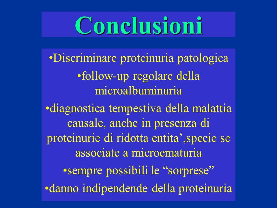Conclusioni Discriminare proteinuria patologica follow-up regolare della microalbuminuria diagnostica tempestiva della malattia causale, anche in pres