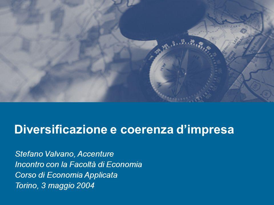 2 Agenda La diversificazione dimpresa (cenni) Il concetto di coerenza produttiva e lindice di Teece et al.
