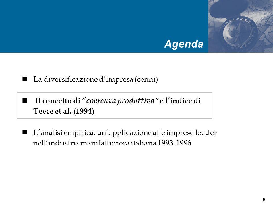 20 Lindagine empirica è stata condotta utilizzando un database costruito dal Ceris- CNR di Torino Le matrice utilizzata disaggrega il fatturato delle imprese leader (in termini di fatturato) nellindustria manifatturiera italiana nel 1993 e 1996 per settore di attività in base alla classificazione ATECO 91 a tre cifre.