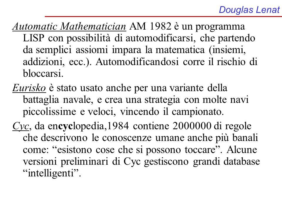 Douglas Lenat Automatic Mathematician AM 1982 è un programma LISP con possibilità di automodificarsi, che partendo da semplici assiomi impara la matem