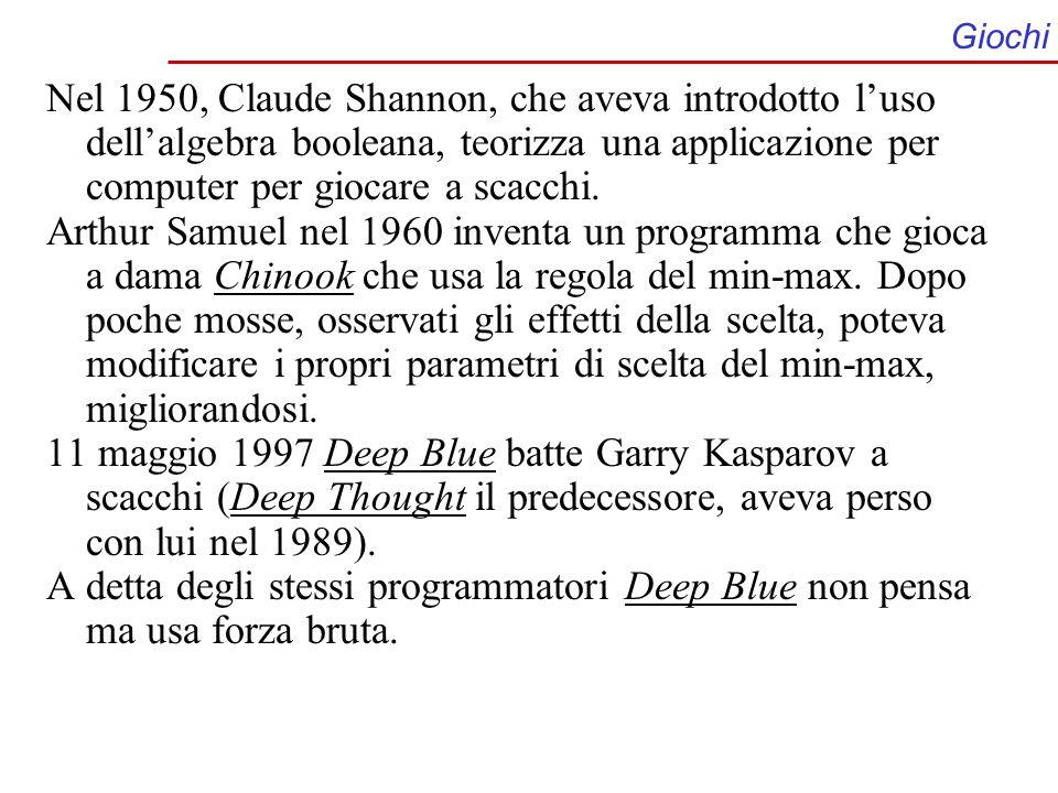 Giochi Nel 1950, Claude Shannon, che aveva introdotto luso dellalgebra booleana, teorizza una applicazione per computer per giocare a scacchi. Arthur