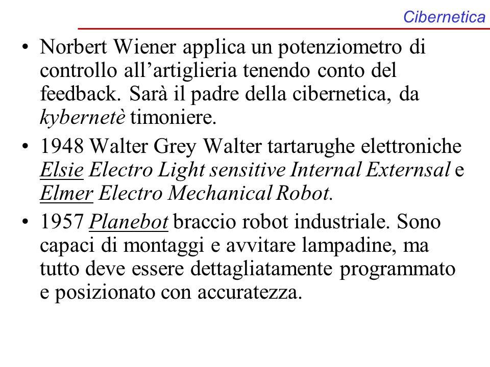 Cibernetica Norbert Wiener applica un potenziometro di controllo allartiglieria tenendo conto del feedback. Sarà il padre della cibernetica, da kybern