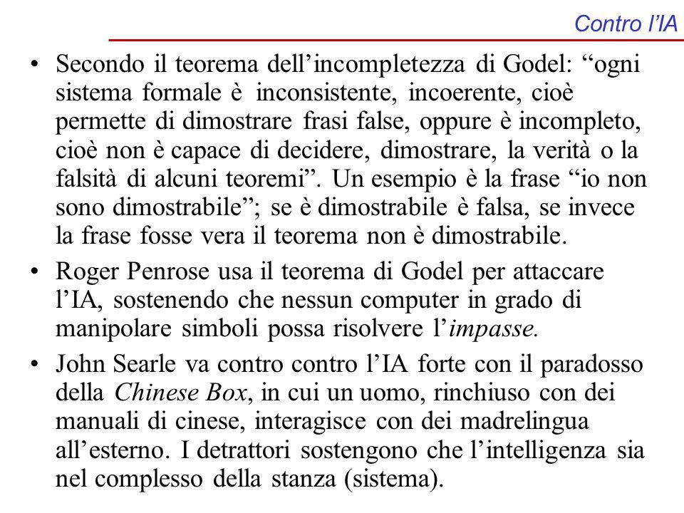 Contro lIA Secondo il teorema dellincompletezza di Godel: ogni sistema formale è inconsistente, incoerente, cioè permette di dimostrare frasi false, o