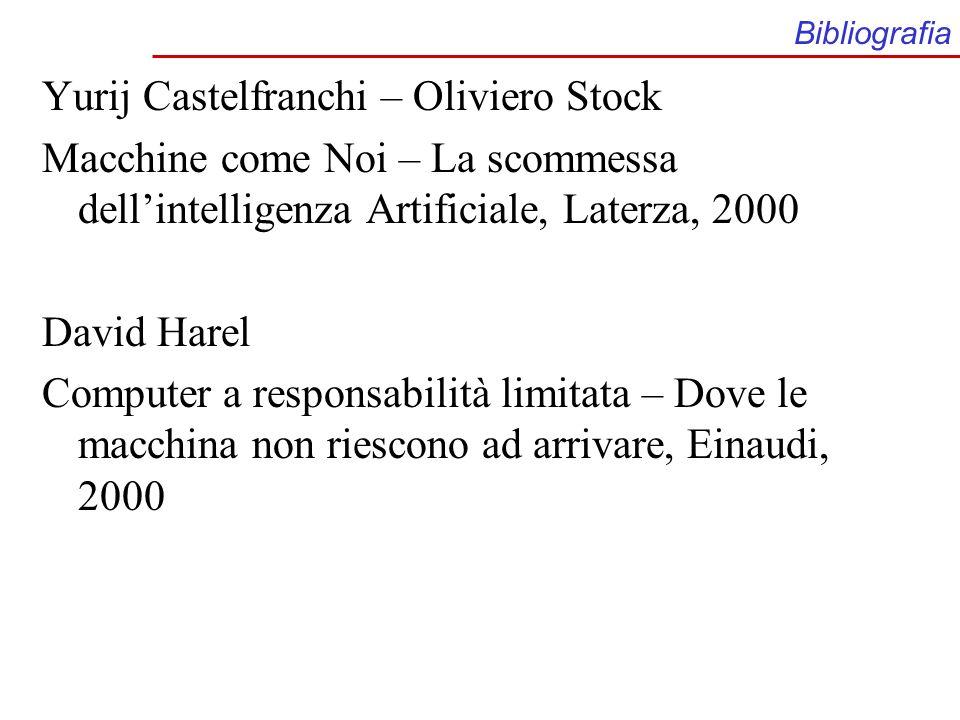 Bibliografia Yurij Castelfranchi – Oliviero Stock Macchine come Noi – La scommessa dellintelligenza Artificiale, Laterza, 2000 David Harel Computer a