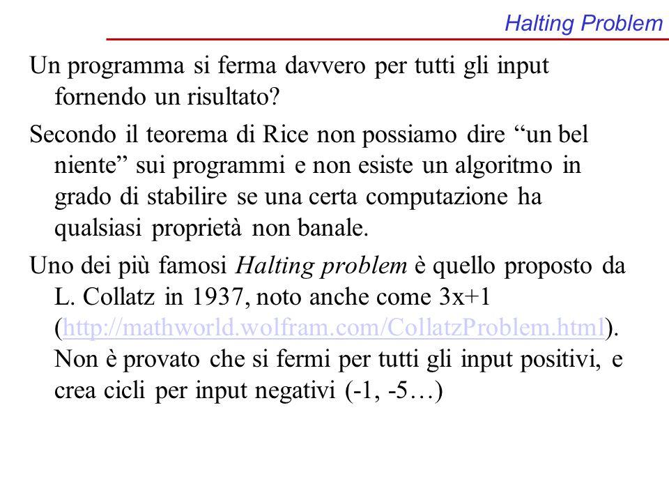 Halting Problem Un programma si ferma davvero per tutti gli input fornendo un risultato? Secondo il teorema di Rice non possiamo dire un bel niente su