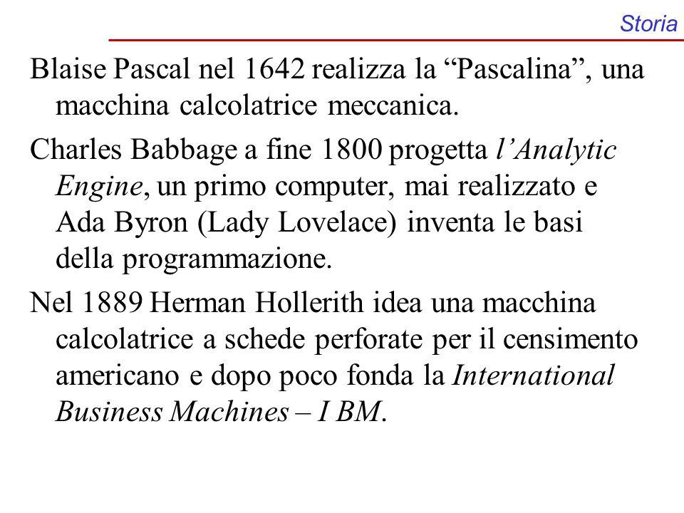 Storia Blaise Pascal nel 1642 realizza la Pascalina, una macchina calcolatrice meccanica. Charles Babbage a fine 1800 progetta lAnalytic Engine, un pr