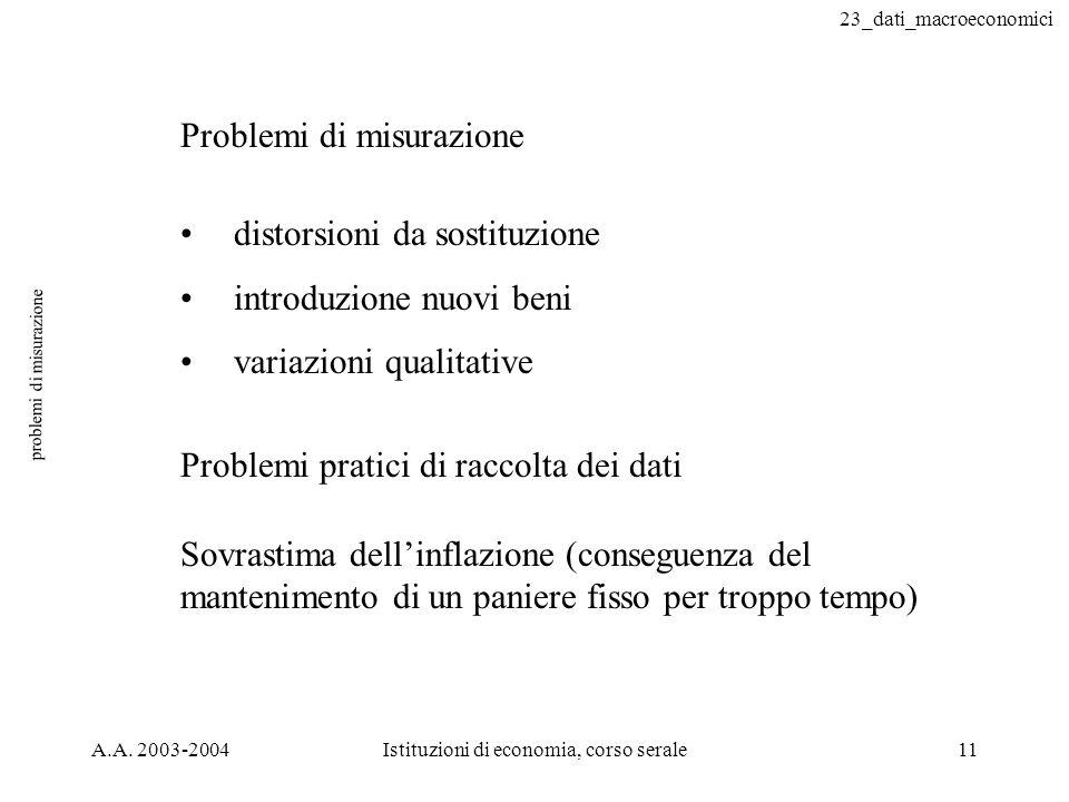 23_dati_macroeconomici A.A. 2003-2004Istituzioni di economia, corso serale11 problemi di misurazione Problemi di misurazione distorsioni da sostituzio
