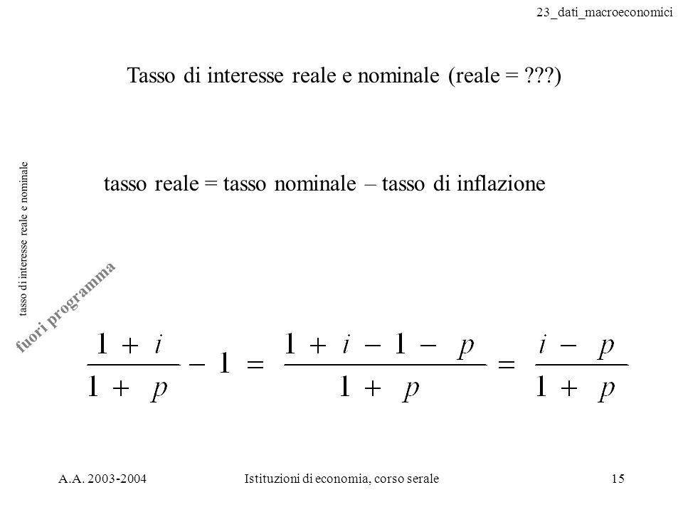 23_dati_macroeconomici A.A. 2003-2004Istituzioni di economia, corso serale15 tasso di interesse reale e nominale Tasso di interesse reale e nominale (