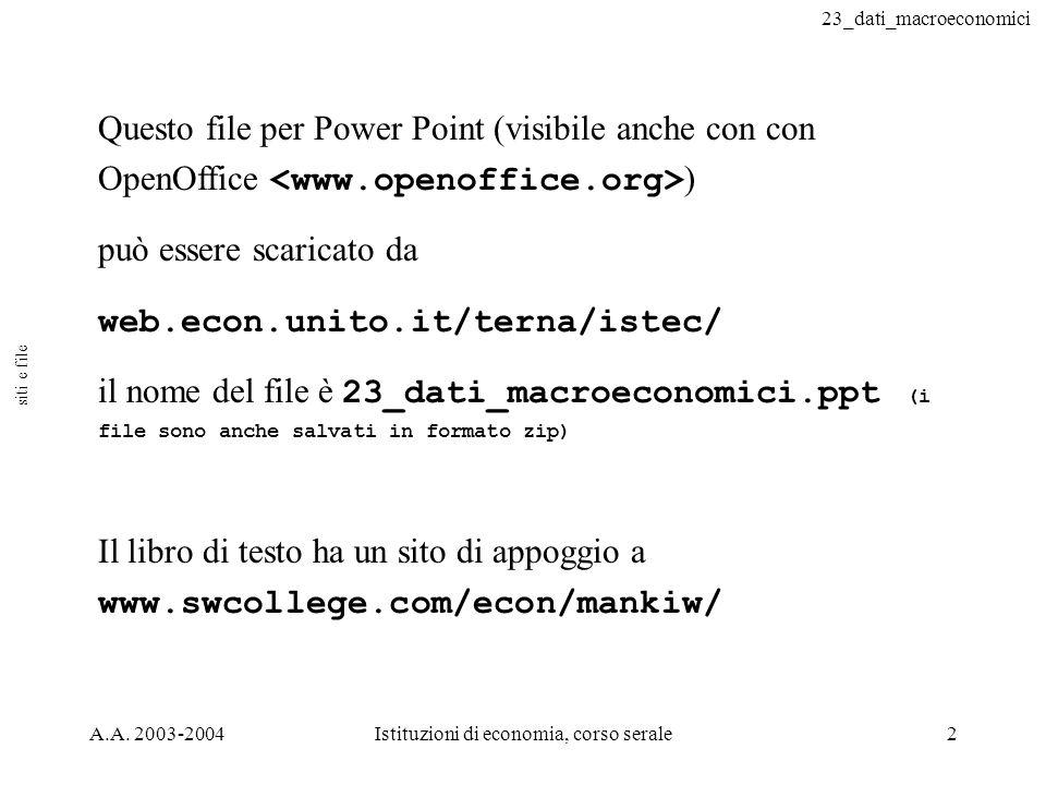 23_dati_macroeconomici A.A. 2003-2004Istituzioni di economia, corso serale2 Questo file per Power Point (visibile anche con con OpenOffice ) può esser