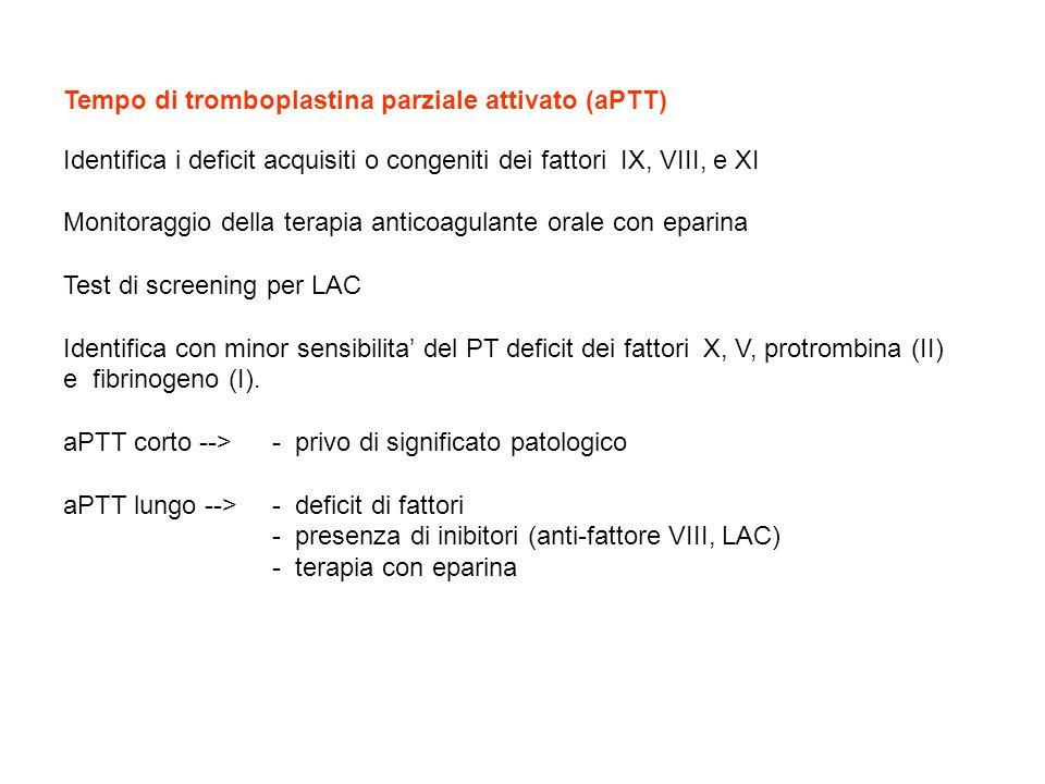 Tempo di tromboplastina parziale attivato (aPTT) Identifica i deficit acquisiti o congeniti dei fattori IX, VIII, e XI Monitoraggio della terapia anti