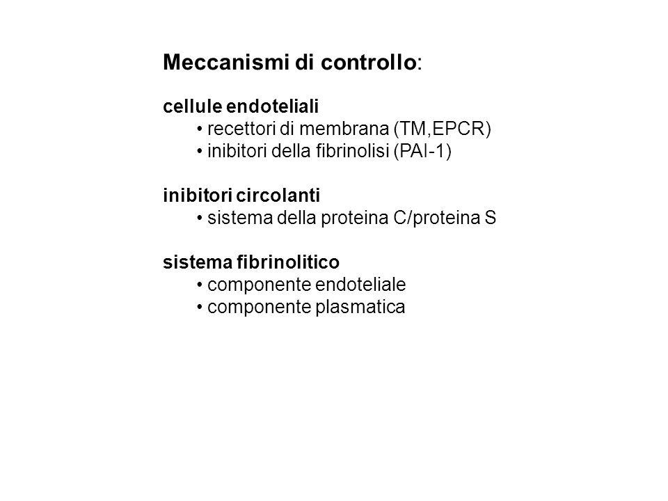 Meccanismi di controllo: cellule endoteliali recettori di membrana (TM,EPCR) inibitori della fibrinolisi (PAI-1) inibitori circolanti sistema della pr