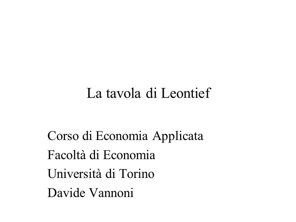 La tavola di Leontief Corso di Economia Applicata Facoltà di Economia Università di Torino Davide Vannoni