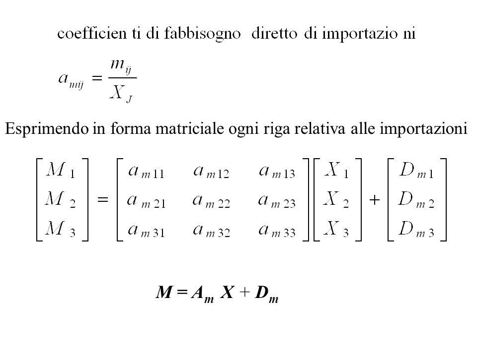 Esprimendo in forma matriciale ogni riga relativa alle importazioni M = A m X + D m