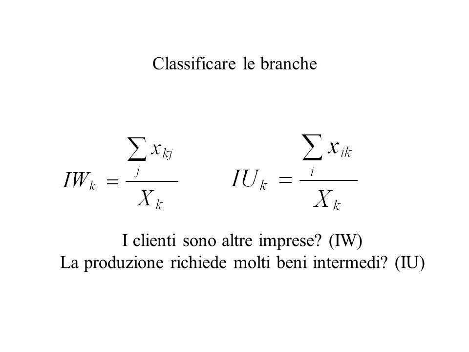 Classificare le branche I clienti sono altre imprese? (IW) La produzione richiede molti beni intermedi? (IU)