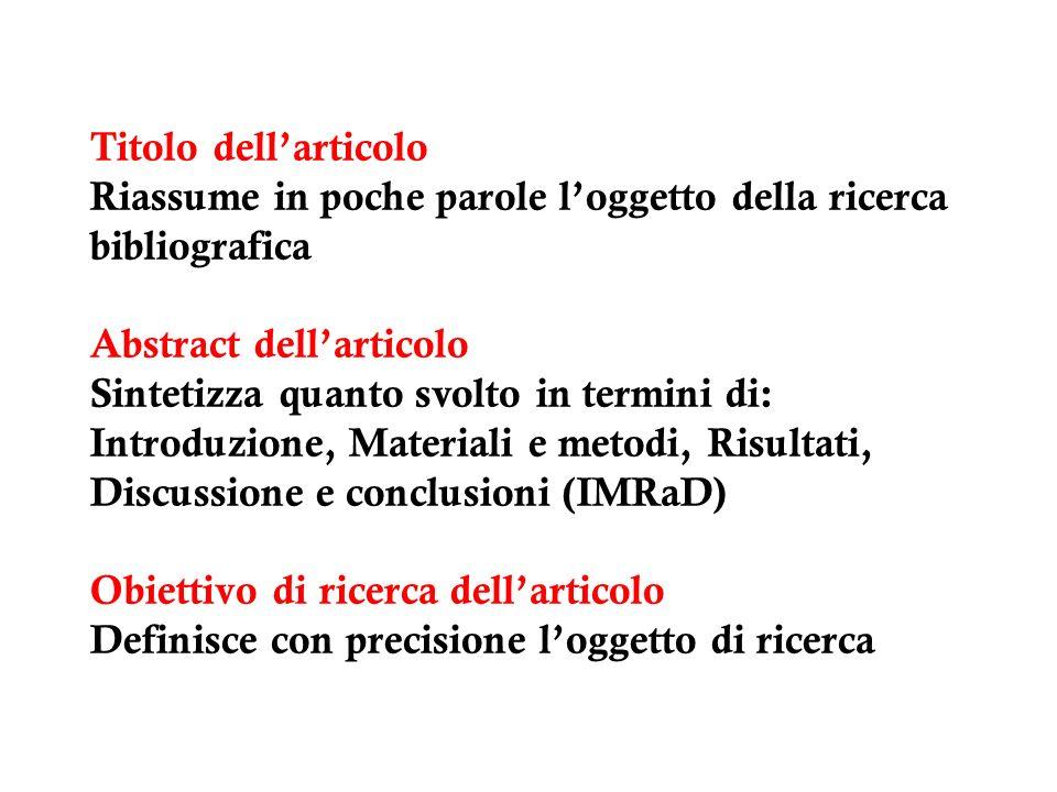 Titolo dellarticolo Riassume in poche parole loggetto della ricerca bibliografica Abstract dellarticolo Sintetizza quanto svolto in termini di: Introd