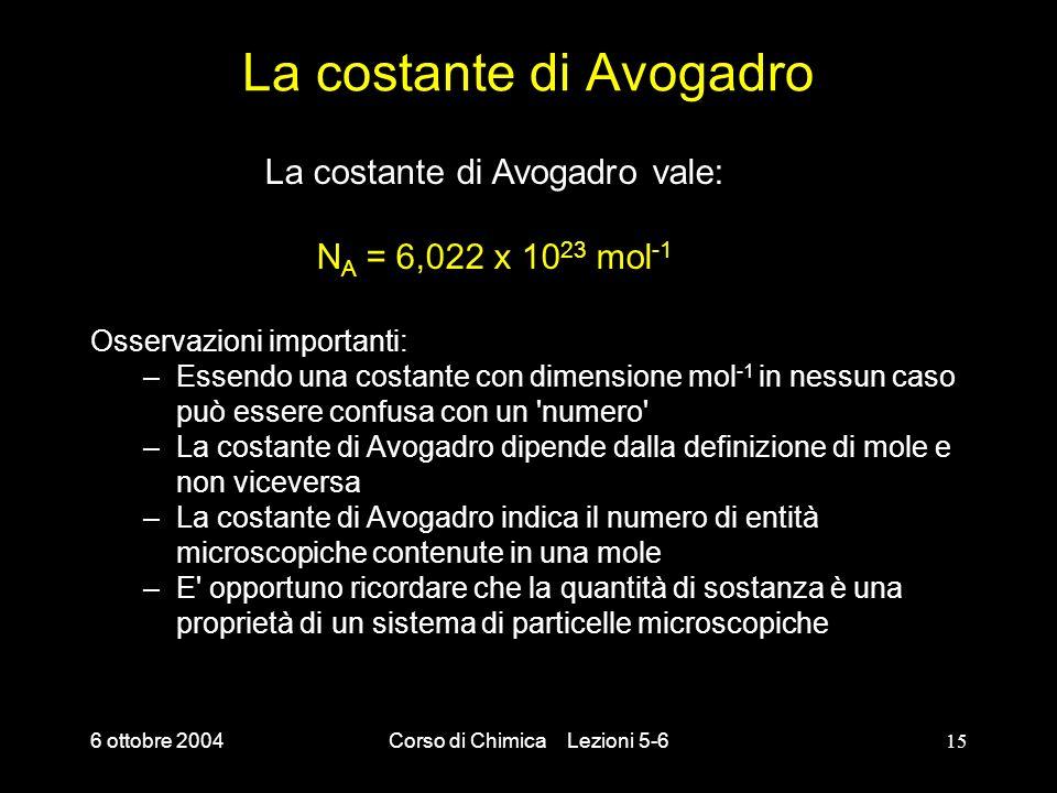 6 ottobre 2004Corso di Chimica Lezioni 5-615 La costante di Avogadro Osservazioni importanti: –Essendo una costante con dimensione mol -1 in nessun ca
