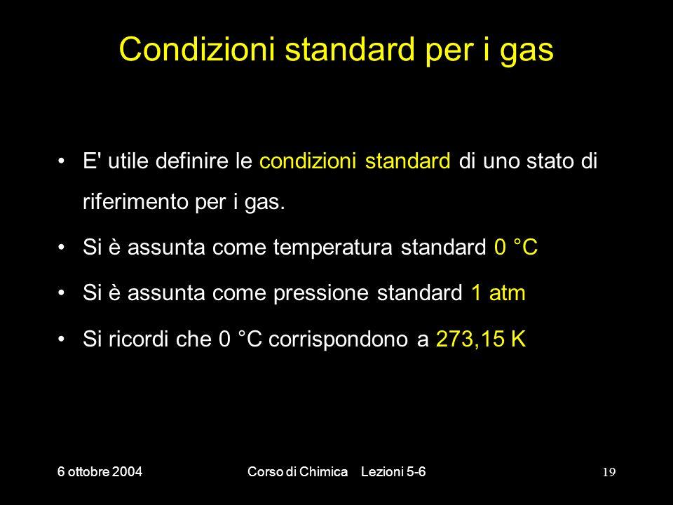 6 ottobre 2004Corso di Chimica Lezioni 5-619 Condizioni standard per i gas E' utile definire le condizioni standard di uno stato di riferimento per i