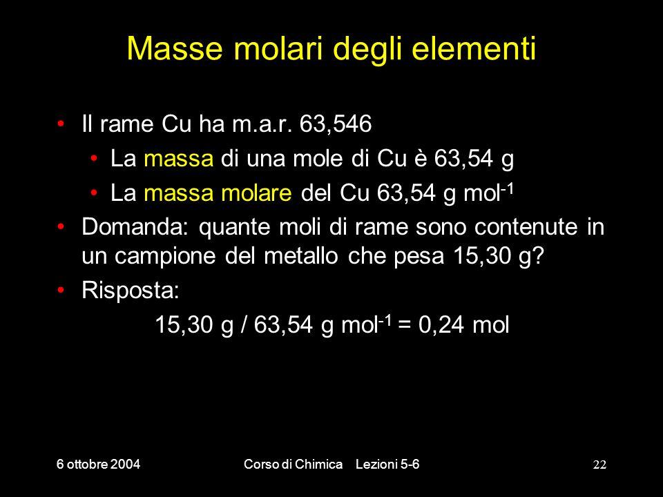 6 ottobre 2004Corso di Chimica Lezioni 5-622 Masse molari degli elementi Il rame Cu ha m.a.r. 63,546 La massa di una mole di Cu è 63,54 g La massa mol