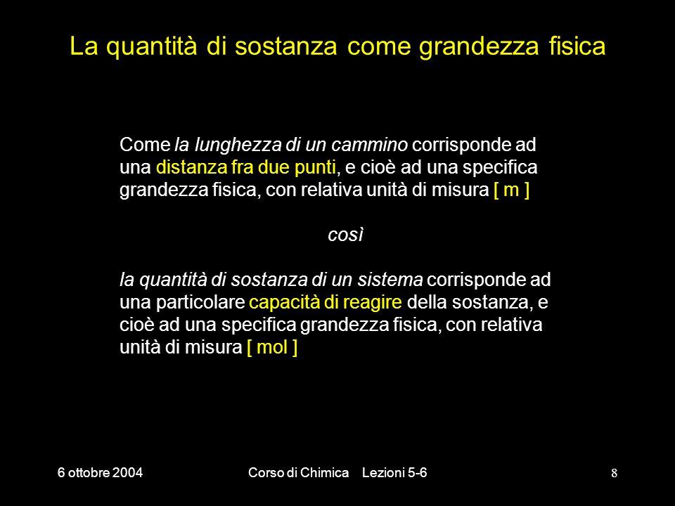 6 ottobre 2004Corso di Chimica Lezioni 5-68 La quantità di sostanza come grandezza fisica Come la lunghezza di un cammino corrisponde ad una distanza