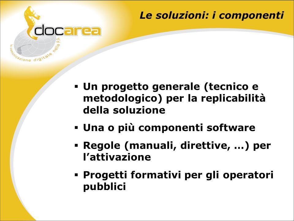 Un progetto generale (tecnico e metodologico) per la replicabilità della soluzione Una o più componenti software Regole (manuali, direttive, …) per lattivazione Progetti formativi per gli operatori pubblici Le soluzioni: i componenti