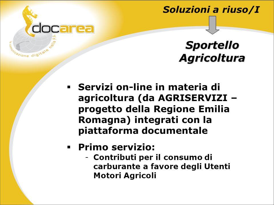 Soluzioni a riuso/I Sportello Agricoltura Servizi on-line in materia di agricoltura (da AGRISERVIZI – progetto della Regione Emilia Romagna) integrati con la piattaforma documentale Primo servizio: -Contributi per il consumo di carburante a favore degli Utenti Motori Agricoli
