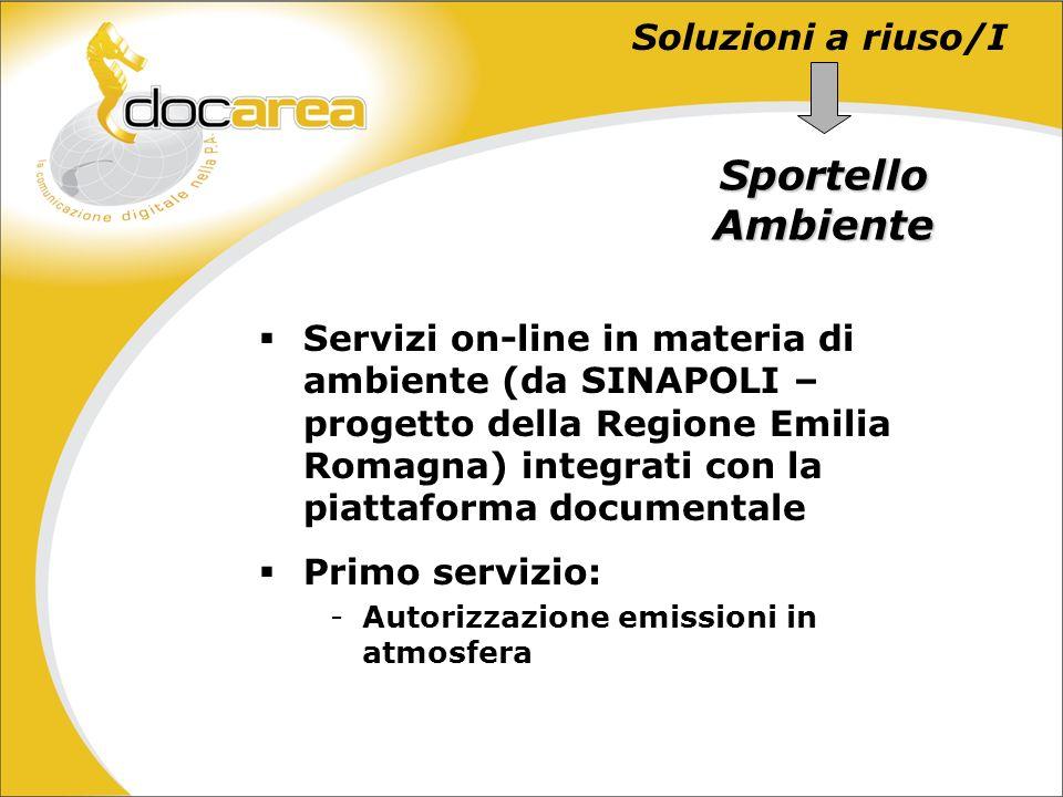 Soluzioni a riuso/I Sportello Ambiente Servizi on-line in materia di ambiente (da SINAPOLI – progetto della Regione Emilia Romagna) integrati con la piattaforma documentale Primo servizio: -Autorizzazione emissioni in atmosfera