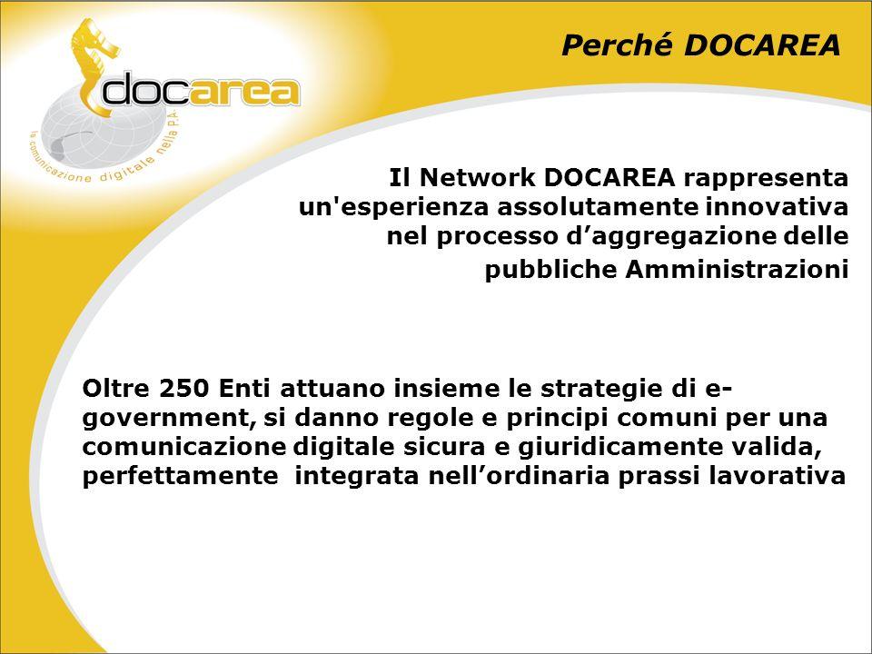 Perché DOCAREA Il Network DOCAREA rappresenta un esperienza assolutamente innovativa nel processo daggregazione delle pubbliche Amministrazioni Oltre 250 Enti attuano insieme le strategie di e- government, si danno regole e principi comuni per una comunicazione digitale sicura e giuridicamente valida, perfettamente integrata nellordinaria prassi lavorativa