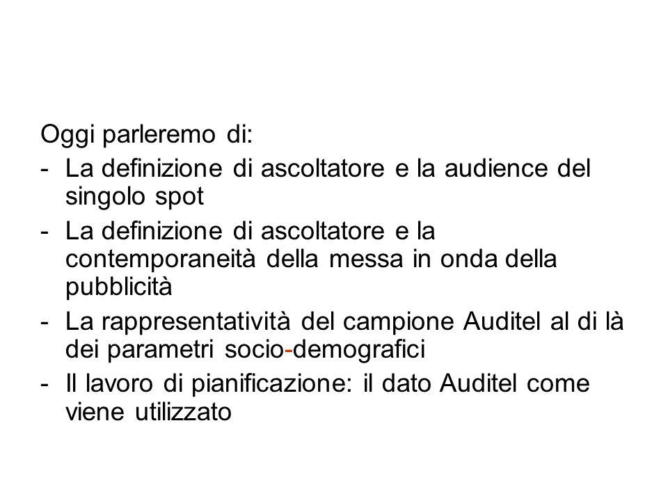 Oggi parleremo di: -La definizione di ascoltatore e la audience del singolo spot -La definizione di ascoltatore e la contemporaneità della messa in onda della pubblicità -La rappresentatività del campione Auditel al di là dei parametri socio-demografici -Il lavoro di pianificazione: il dato Auditel come viene utilizzato